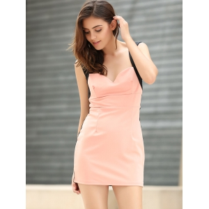 Straps Four Buttons Low-Cut Sleeveless Bodycon Dress - PINK ONE SIZE