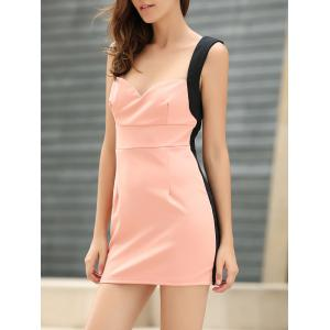 Straps Four Buttons Low-Cut Sleeveless Bodycon Dress