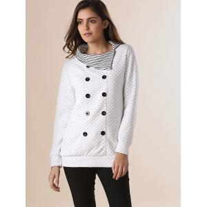 Stylish Pinstripe Turn-Down Collar Long Sleeve Double-Breasted Women's Sweatshirt - OFF WHITE ONE SIZE(FIT SIZE XS TO M)
