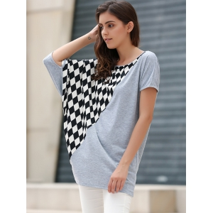 Laconic Scoop Neck Rhombus Pattern Batwing Sleeve Women's T-Shirt - GRAY ONE SIZE