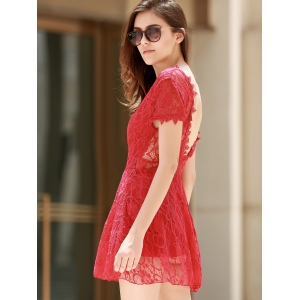 V Neck Backless Short Lace Prom Dress - RED M