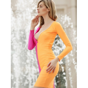 Long Sleeves Plunging Neck Off Breast Stitching Backless Packet Buttock Women's Cut Out Club Dress - ORANGE RED M