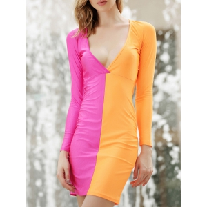 Long Sleeves Plunging Neck Off Breast Stitching Backless Packet Buttock Women's Cut Out Club Dress - Orange Red - M