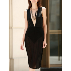 Alluring Plunging Neck See-Through Sleeveless Dress For Women