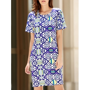 Stylish Round Neck Short Sleeve Bodycon Printed Women's Dress