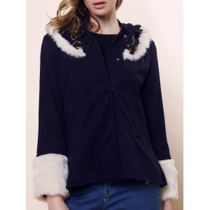 Horns Buckle Fashionable Style Long Sleeves Cashmere Color Block Women's Coat - Navy - L