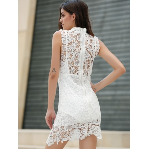 Sexy tortue cou manches solides Couleur See-Through Dress dentelle - Blanc S