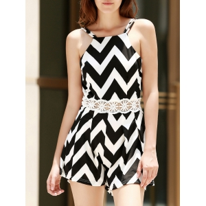 Sexy Spaghetti Strap Sleeveless Wave Print Backless Women's Romper - White And Black - S