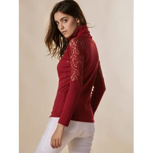 Stylish Turtleneck Long Sleeve Lace Splicing Sweater For Women -