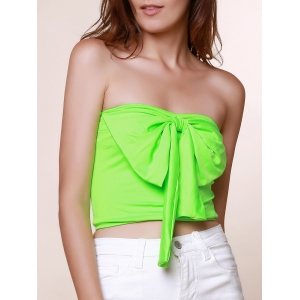 Stylish Strapless Sleeveless Bowknot Embellished Women's Tank Top - Grass Green - S