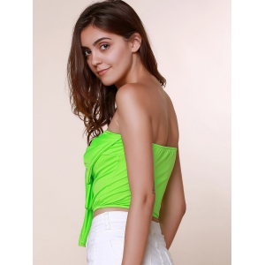Stylish Strapless Sleeveless Bowknot Embellished Women's Tank Top - GRASS GREEN S