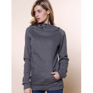 Stylish Front Pockets Solid Color Long Sleeve Women's Hoodie - GRAY M