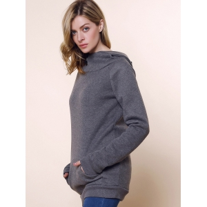 Stylish Front Pockets Solid Color Long Sleeve Women's Hoodie - GRAY S