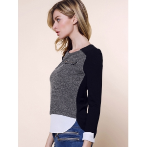 Vintage Round Collar Three Colors Matching Long Sleeves Womne's Blouse - BLACK/GREY L