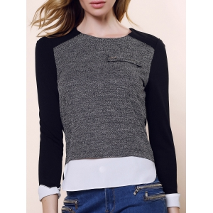 Vintage Round Collar Three Colors Matching Long Sleeves Womne's Blouse - Black And Grey - L