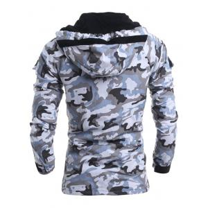 Modish Loose Fit Hooded Multi-Pocket Camo Pattern Long Sleeve Thicken Cotton Blend Coat For Men - LIGHT GRAY XL