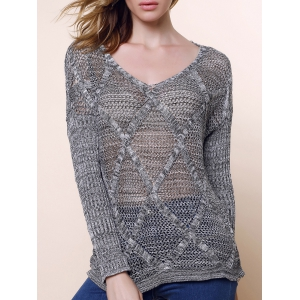 Hollow Out Long Sleeve Casual Style V-Neck Acrylic Women's Sweater - Light Gray - One Size