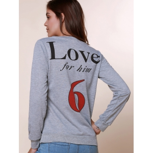 Sexy Long Sleeve Round Neck Hollow Out Printed Sweatshirt For Women - GRAY L