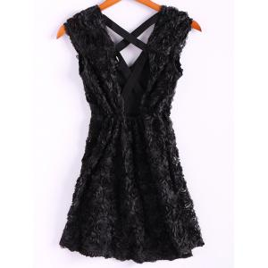 Sexy Style Stereoscopic Rose Backless Cross Short Sleeve Dress For Women - BLACK M