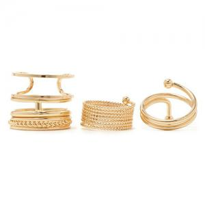 A Suit of Vintage Alloy Hollow Out Cuff Rings -