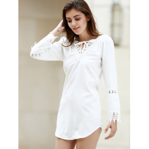 Crochet Panel Long Sleeve Casual Tunic Dress - WHITE M