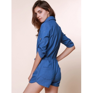 Vintage Shirt Collar Solid Color 3/4 Sleeve Lace-Up Jeans Rompers For Women - AS THE PICTURE S