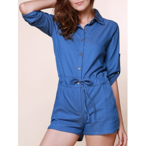 Vintage Shirt Collar Solid Color 3/4 Sleeve Lace-Up Jeans Rompers For Women