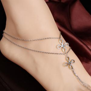 Elegant Multilayer Hollow Out Chinese Knot Anklet For Women - SILVER