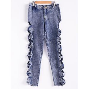 Vintage Detailed Woman Side Bow Cutout Ripped Denim Sexy Jeans