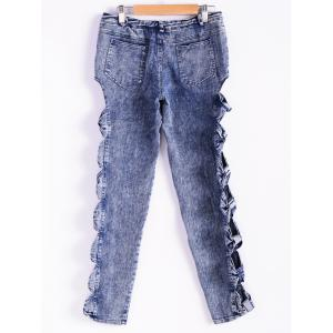 Vintage Detailed Woman Side Bow Cutout Ripped Denim Sexy Jeans -