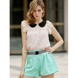Elegant Bowknot Embellished Solid Color High-Waisted Chino Shorts - WATER BLUE M