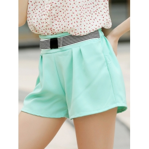 Elegant Bowknot Embellished Solid Color High-Waisted Chino Shorts - Water Blue - M