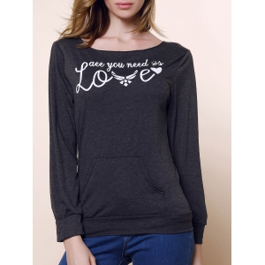 Stylish Skew Neck Long Sleeve Letter and Heart Print Women's Sweatshirt