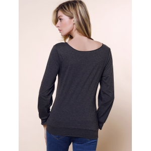 Stylish Skew Neck Long Sleeve Letter and Heart Print Women's Sweatshirt - DEEP GRAY M