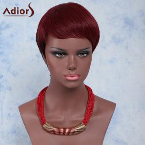 Outstanding Ultrashort Layered Capless Wine Red Straight Synthetic Adiors Wig For Women - Wine Red - 14inch