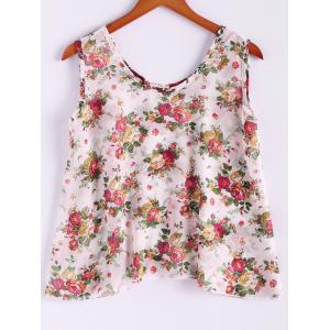 Floral Print Flowy Tank Top - APRICOT ONE SIZE