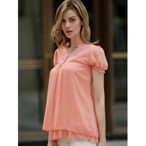 Stand Collar Short Sleeves Lace Splicing Solid Color Sweet Style Chiffon Women's Blouse - ORANGEPINK S