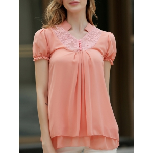 Stand Collar Short Sleeves Lace Splicing Solid Color Sweet Style Chiffon Women's Blouse - Orangepink - S