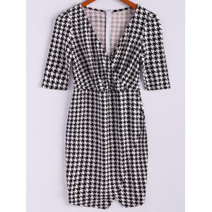 Vintage Plunging Neck Checked Half Sleeves Women's Bodycon Dress