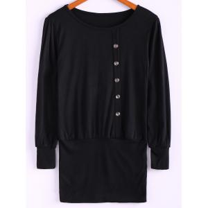Simple Scoop Neck Solid Color Puff Long Sleeve Cotton Women's Dress With Side Button - Black - One Size