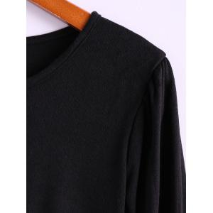 Simple Scoop Neck Solid Color Puff Long Sleeve Cotton Women's Dress With Side Button -