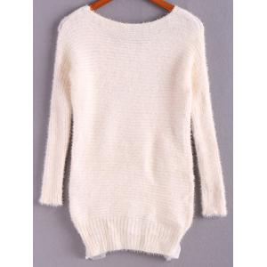 Ladylike Style Sweet Scoop Collar Loose Fit Lace Hem Long Sleeve Women's Knitted Sweater - WHITE ONE SIZE
