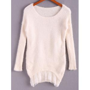 Ladylike Style Sweet Scoop Collar Loose Fit Lace Hem Long Sleeve Women's Knitted Sweater