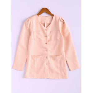 Casual Style Scoop Neck Candy Color Puff Sleeve Cotton Women's Coat