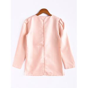 Casual Style Scoop Neck Candy Color Puff Sleeve Cotton Women's Coat -