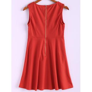 High Waist A Line Mini Dress - RED L