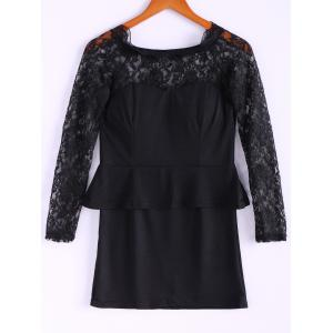 Long Sleeves Lace Splicing Boat Neck Sexy Style Women's Dress - Black - One Size