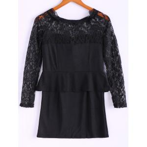 Long Sleeves Lace Splicing Boat Neck Sexy Style Women's Dress - BLACK ONE SIZE