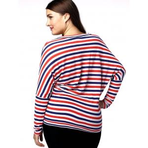 Casual Plus Size Batwing Sleeve Striped Women's T-Shirt - RED AND WHITE AND BLUE 3XL