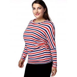 Casual Plus Size Batwing Sleeve Striped Women's T-Shirt - RED/WHITE/BLUE 3XL
